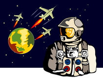 Astronaut with spaceship Stock Images