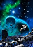 Astronaut and spaceship near a planet with moon, dark sky with nebula and stars, 3d illustration. Astronaut spaceship near planet moon dark sky nebula stars royalty free stock image