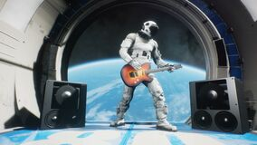 Astronaut on a spaceship playing guitar space rock n roll. Looping animation is designed for fantastic, futuristic or