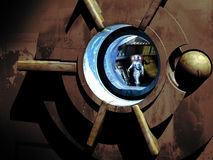 Astronaut at spaceship's door Royalty Free Stock Photography
