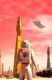 Astronaut and spaceship at space port Royalty Free Stock Image