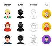 An astronaut in a spacesuit, a co-worker with a microphone, a fireman in a helmet, a policeman with a badge on his cap. People of different professions set Stock Photo