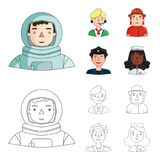 An astronaut in a spacesuit, a co-worker with a microphone, a fireman in a helmet, a policeman with a badge on his cap. People of different professions set Stock Images