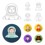 An astronaut in a spacesuit, a co-worker with a microphone, a fireman in a helmet, a policeman with a badge on his cap. People of different professions set Stock Photography