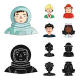 An astronaut in a spacesuit, a co-worker with a microphone, a fireman in a helmet, a policeman with a badge on his cap. People of different professions set Stock Photos