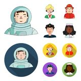 An astronaut in a spacesuit, a co-worker with a microphone, a fireman in a helmet, a policeman with a badge on his cap. People of different professions set Royalty Free Stock Photos