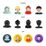An astronaut in a spacesuit, a co-worker with a microphone, a fireman in a helmet, a policeman with a badge on his cap. People of different professions set Royalty Free Stock Photo