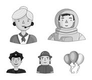 An astronaut in a spacesuit, a co-worker with a microphone, a fireman in a helmet, a policeman with a badge on his cap. People of different professions set Royalty Free Stock Image