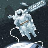 Astronaut in spacesuit die in ruimte en het verzoeken Houston vliegen stock illustratie