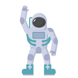 Astronaut in spacesuit golvende hand Vectorillustratie op een whi vector illustratie