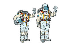 Astronaut in spacesuit and mockup without a head. Pop art retro comic book vector illustration Royalty Free Stock Images