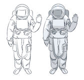 Astronaut in spacesuit with raised hand in salute. Stock Photos