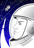 Poster with astronaut. Astronaut in a spacesuit on the starry sky and the spacecraft Royalty Free Stock Photos