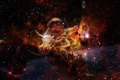 Astronaut at spacewalk. Beauty of deep space stock illustration