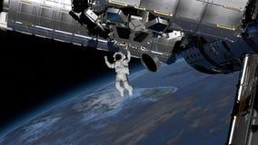 Astronaut Spacewalk, Astronaut in de open plek Elementen van dit die beeld door NASA wordt geleverd het 3d teruggeven royalty-vrije illustratie