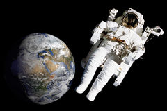Astronaut on spacewalk mission stock photography
