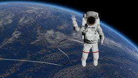 Astronaut Spacewalk, waving his hand in the open space. Elements of this image furnished by NASA. 3D rendering vector illustration