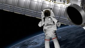 Astronaut Spacewalk, waving his hand in the open space. International Space Station ISS revolving over earths atmosphere. Elements