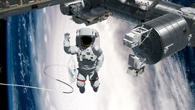 Astronaut spacewalk, waving his hand in the open space. International Space Station ISS revolving over earths atmosphere. International Space Station ISS vector illustration