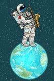 Astronaut spielt Saxophon auf Planetenerde vektor abbildung