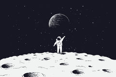 Astronaut stand on surface of Moon. And welcomes us.Sciense theme.Vector illustration Royalty Free Stock Photography