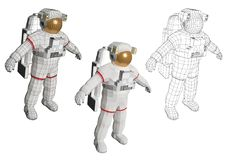 Astronaut standing and equipped with extravehicular mobility sui Stock Images