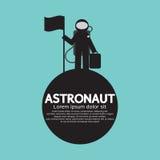 Astronaut Standing With Flag auf dem Planeten Stockfotos
