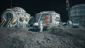 An astronaut stands beside his lunar rover at the space moon base. Animation for fantasy, futuristic or space travel