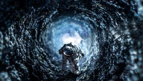 Astronaut starting to run. Mixed media Stock Images