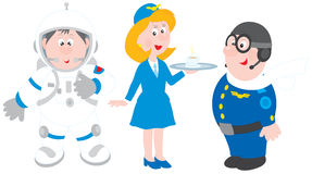Astronaut, stewardess and pilot Stock Photo