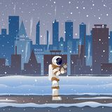 Astronaut on street in big City in the snow royalty free illustration