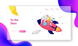 Astronaut Team Travel Rocket Intergalactic Space Landing Page. People on Spacecraft Fly in Solar Star System. To Saturn Comet. Fantastic Technology Website or royalty free illustration