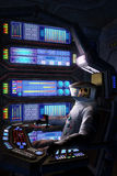 Astronaut tot innerhalb eines Raumschiffes stock abbildung