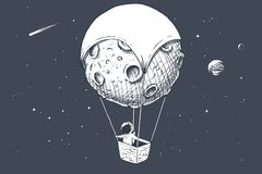 Free Astronaut Travels By On Aerostat Made Of Moon Stock Photos - 131609023