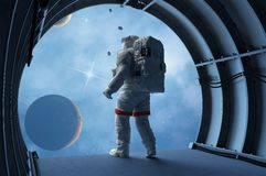 Astronaut in the tunnels Stock Images
