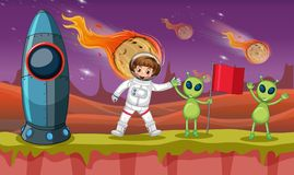 Astronaut and two aliens on strange planet. Illustration Stock Image