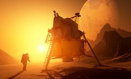 Astronaut und moonwalker lizenzfreie abbildung