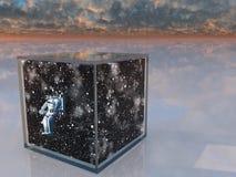 Astronaut und Platz erfasst Lizenzfreie Stockfotos