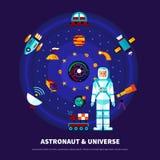 Astronaut And Universe Set Stock Photo