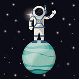 Astronaut in uranus planet Royalty Free Stock Images