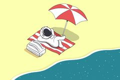 Astronaut on vacation. Baby astronaut rests near the sea from space.Spaceman on vacation.Vector illustration vector illustration