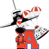 A is for Astronaut. Vector Illustration of a cute cartoon Astronaut - A is for Astronaut Alphabet Learning Illustration vector illustration