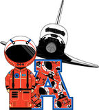 A is for Astronaut. Vector Illustration of a cute cartoon Astronaut - A is for Astronaut Alphabet Learning Illustration. An EPS file is also available vector illustration