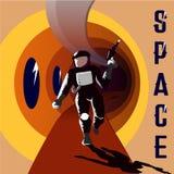 Astronaut Vector Illustration retro tappning för kort Hand dragen utrymmeaffisch vektor illustrationer