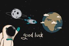 Astronaut wünscht gutes Glück zur Rakete lizenzfreie abbildung