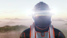 Astronaut walk on alien planet. Martian on mars. Sci -fi concept. Realistic 4k animation.