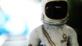 Astronaut walk in spaceship interior. Martian. Sci -fi concept. Realistic 4k animation.