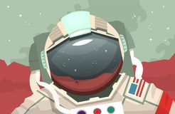 Astronaut in outer space. Astronaut walking on Mars in space suit. Astronaut wearing a helmet with mirror surface reflecting the red planet Royalty Free Stock Photography