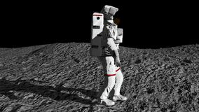 Astronaut walking on the moon and admiring the beautiful Earth. CG Animation. stock video footage