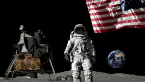Astronaut walking on the moon and saluting the American flag.  vector illustration